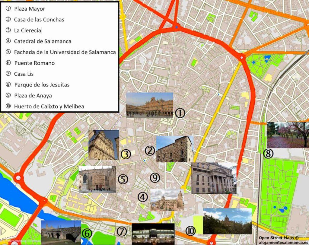 Mapa de la ciudad de Salamanca