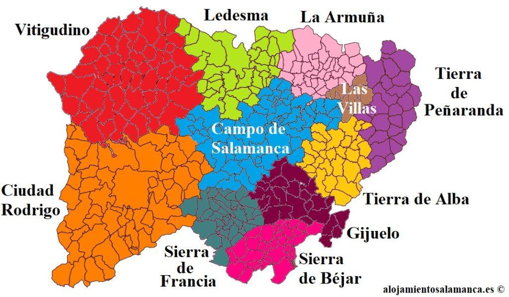Mapa de las Comarcas de Salamanca